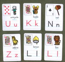 Collectible Non-standard playing cards. Alphabet Cartoons,